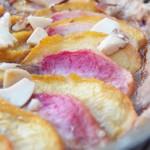 tarte aux pêche, amandes et pâte aux speculos